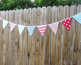 Dr. Suess Fabric Banner Bunting - Pennant Flags, Birthday Banner, Photo Prop, Baby Shower, Red and Aqua Party