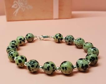 Dalmatian Jasper Bracelet, Sterling Silver Bracelet, Silver Beads, Jasper Bracelet, Gemstone Beads, Jewellery For Her, Dalmatian Jasper