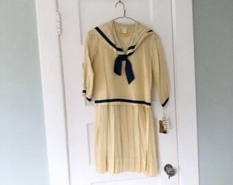 Vintage 50s Little Girls Sailor Dress  1950s Nautical Kiss Me Kate ~ Kate Greenaway Dress ~ Size 12 Full Skirt Mothers Day Dress Costume