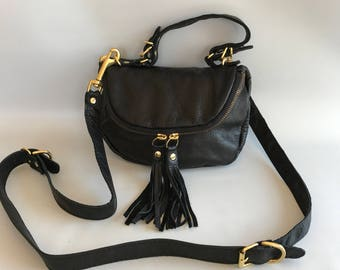 Small Alberta leather bag in black