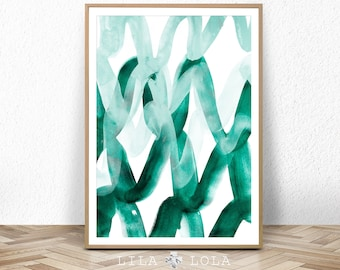 Abstract Painting, Teal Wall Art Print, Modern Minimalist Poster, Emerald Green, Watercolour, Large Printable Digital Download, Green Decor