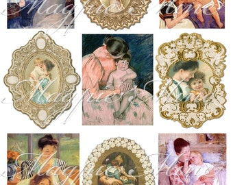 Mothers and Children Digital Collage Sheet - Instant Printable Download
