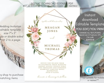 geometric floral wedding invitation template, editable wedding invitation, printable wedding invitations, rustic floral, templett, 7x5