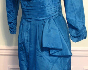 1980s Dress Travilla Designer Bombshell Aqua Blue Satin Wiggle