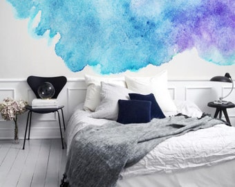 Watery Watercolor - Blue and Purple - Adhesive Wallpaper - Removable Wallpaper - Wall Sticker - Customizable Wallpaper - Watercolor