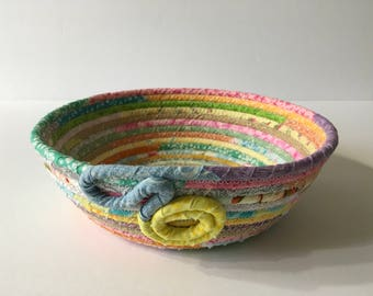 Pastel Multicolored Coiled Rope Bowl, Catchall Basket, Easter Basket, Organizer Basket, Quiltsy Handmade