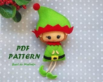 Christmas ornament pattern Felt elf doll Christmas PDF Pattern Felt doll  Christmas ornaments pattern easy sewing tutorial  DIY gifts toy