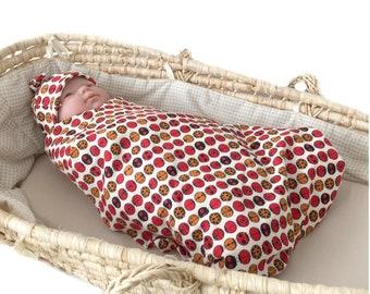 40% off through June 30, organic swaddle set, new baby swaddle, infant topknot hat,newborn hospital hat, ladybugs swaddle set