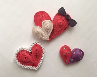 Handcrafted Quilled Heart Magnet Set (3)