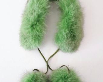 Fox collar with pompoms. Apple green  fox fur baby collar.