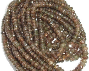 AAA Quality,Superb-Finest ANDULASITE,4.5-5mm, 8 Inch Long Strand Micro Faceted Rondells,Great Price rare Item
