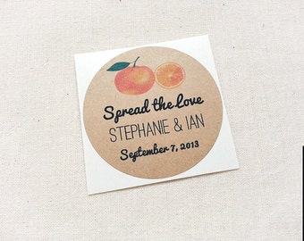 Orange Marmalade Wedding Mason Jar Labels / Stickers / Wedding Favors / Thank You Gifts / Once Upon Supplies