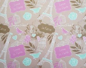 3 Sheets Bonjour Paris A4 Paper Sheet 22x30cm Paper Crafts