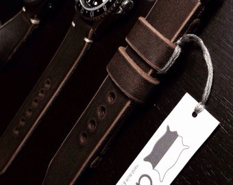20mm Dark brown Handmade Genuine Leather vintage Watch Band / strap with stitch