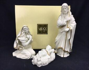 Holy Night Nativity Mikasa Porcelain w/ Gold Accents 695 In Original Box Joseph Mary Jesus