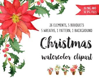 CHRISTMAS watercolor clipart Poinsettia clipart Watercolour bundle Christmas clipart Xmas decor Christmas berries Christmas art