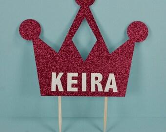 Custom Name Pink Princess Crown Party Celebration Cake Topper