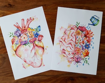 Medical Anatomy Art- Watercolour PRINT- Flower Heart and Brain