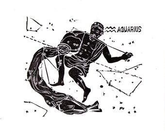 Aquarius Constellation Linocut in Black and White - Constellations of the Zodiac Print Collection