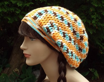 Multicolor Slouchy Beanie, Womens Crochet Hat, Slouchy Hat, Oversized Slouchy Beanie, Slouch Hat, Baggy Beanie, Orange Brown Aqua