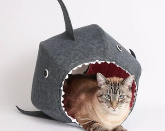 Great White Shark Cat Ball Cat Bed a Funny Pet Bed for Shark Week - funny pets
