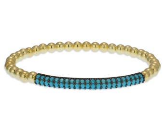 Gold Filled Beaded Pave Bar Bracelet, Gold Filled Bracelet