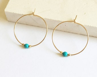 Turquoise gold filled hoop earrings