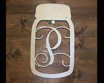 "24"" Wood Mason Jar Shape Monogram Initial Unfinished"