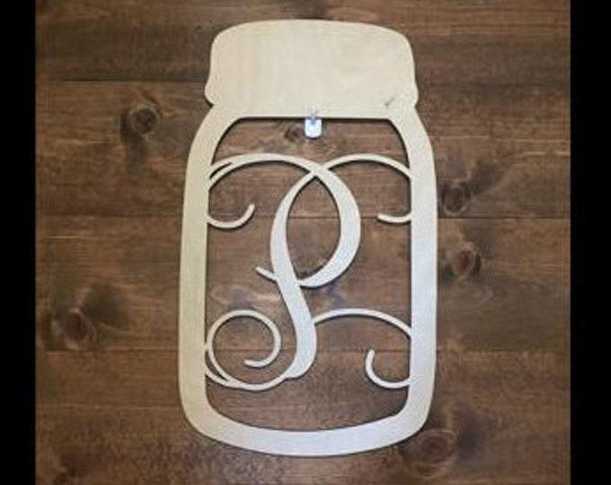 """24"""" Wood Mason Jar Shape Monogram Initial Unfinished"""