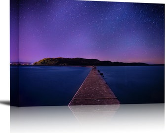 Starry Night Sky Lake Water Art Print Wall Decor Image - Canvas Stretched Framed