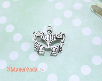 2 charm/pendant/charms mask 22 x 21, 5mm silver REF:2 / 265