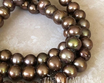 Freshwater Pearl Beads - 8mm Large Hole 2.5mm - Natural Organic Potato Round - Bronze Brown Bohemian Beach Ocean Sea - Central Coast Charms