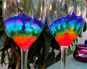 Rainbow wine glass, set of 2. LGBT, pride, coming out.