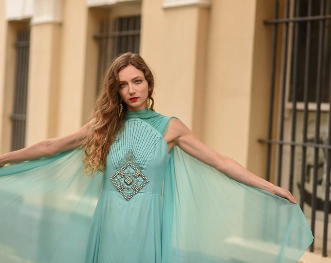 Beautiful 1970's Floaty Swishy Turquoise Chiffon Pearl Diamonte and  Beaded Caped Butterfly Evening dress M