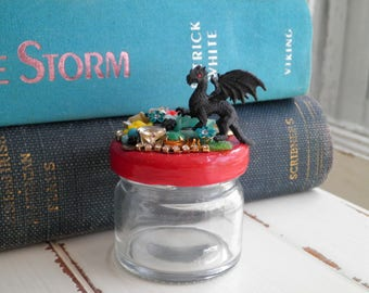 Black Dragon Ring Jar / Trinket Jar Jewelry Storage Container - Floral Fantasy Collage Art Mixed Media 3d Assemblage Retro Home Decor Gift