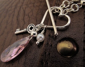 Peony Pink Love Charm Necklace - Sterling Silver, White Fresh Water Pearl, CZ Teardrop