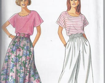 Simplicity Pattern # 8267 from 1992  Misses Skirt, Split Skirt and Top Bust 30 1/2-46   Easy to Sew