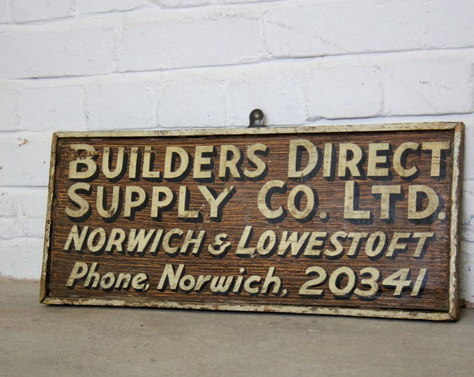 Hand Painted Builders Merchant Sign Circa 1950's