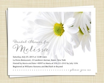 15 Bridal Shower Invitations - White Daisy - Spring Summer - Flower Floral - PRINTED