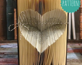 Inverted Folded Heart pattern How to guide and tutorial Folded Book Art Pattern