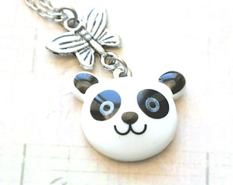 Panda Necklace, Panda Pendant with Butterfly Necklace,Animal Jewelry, Teen Necklace