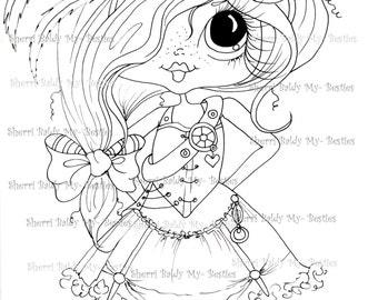 INSTANT DOWNLOAD Digi Stamps Big Eye Big Head Dolls Digi Bestie img600 By Sherri Baldy