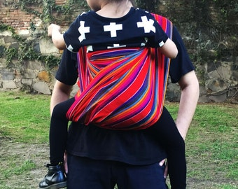 Baby Wrap Carrier Mexican Nantli Red with colors stripes black outline Wrap 5,5 yards