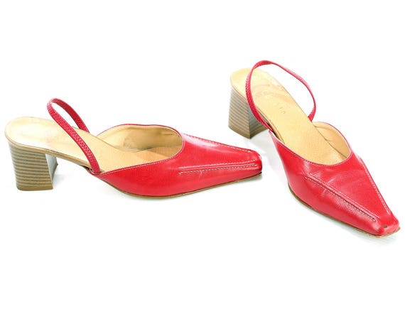 Women Slip Heel 39 5 Red Slider 90s 8 Heels 1990s Shoes Chunky Us Red SANDALS Back On Shoes Leather Uk Eur 6 Bright Summer Mules Red Strap zAqrzp