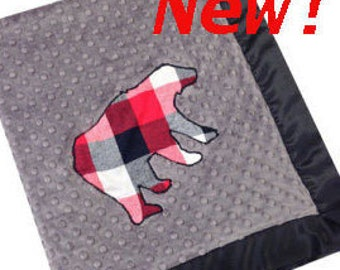 Plaid Bear Stroller Blanket