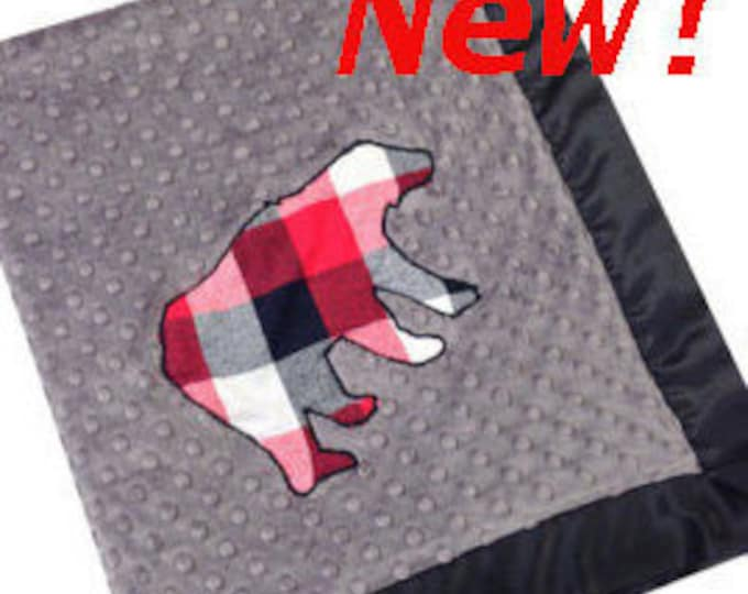 Featured listing image: Plaid Bear Stroller Blanket