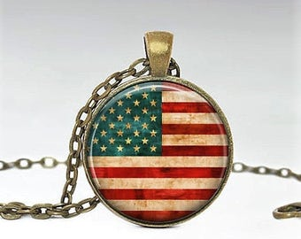 Vintage American Flag Necklace - Antique American Flag Jewelry - 4th of July Necklace - USA silver round  red white blue