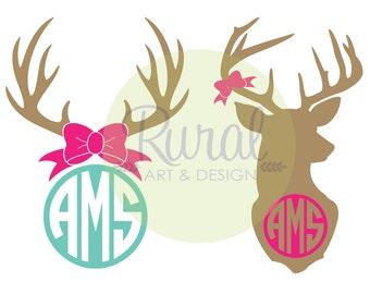Deer Monogram Decal, deer decal, deer car decal, deer, antler, initials, personalized, antler sticker, hunting, country, country girl, Yeti