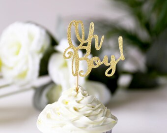 Oh Boy Cupcake Topper /birthday cup cake topper/table decorations/Birthday cupcake topper/ Baby Shower Party/First Birthday