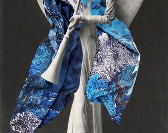 Silk's scarf, rectangular, with spectacular mountains's landscape where men are sleeping, hand-drawn, Blue, made in France